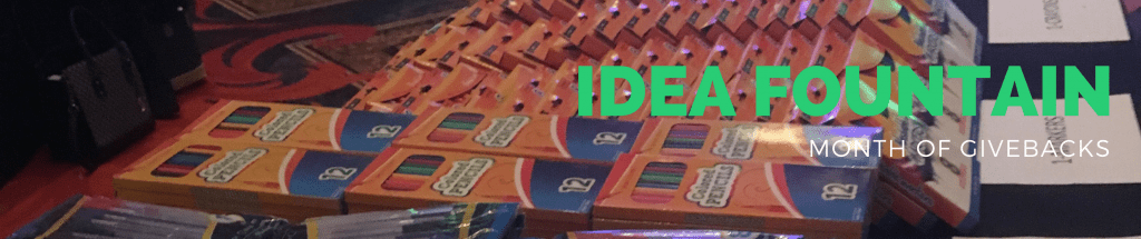 Idea Fountain bannder Month of giving back, stacks of school supplies