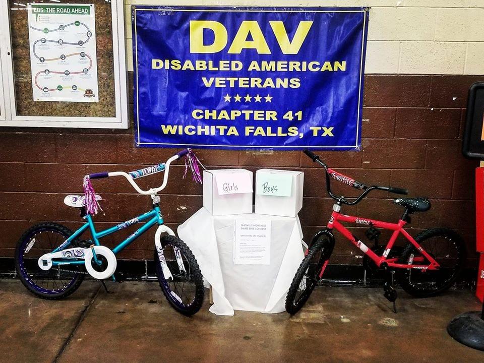 bikes for veterans, 2 bike under a DAV Banner