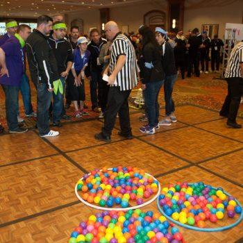 Indoor Field Day 2, balls in hoola hoops