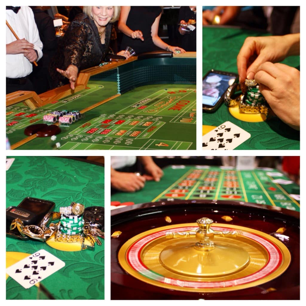 CASINO PICSTITCH, collage of craps, roulette and blackjack being played