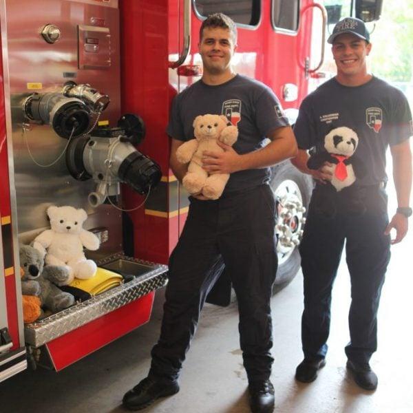 Bear blog, firemen holinf stuffed bears