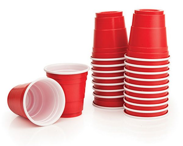 In It to Win It, stacks of red solo cups