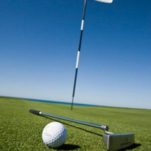 Mini Masters Charity Golf, golf ball and putter on putting greens with a flag in the hole