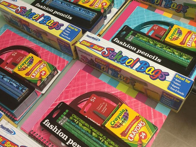 Stuff It Backpacks, school supllies crayons, color pencils notebooks