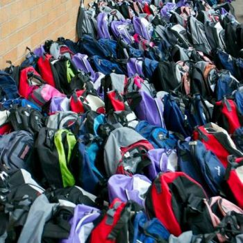 Stuff-It! Backpacks for Charity, lots of backpacks