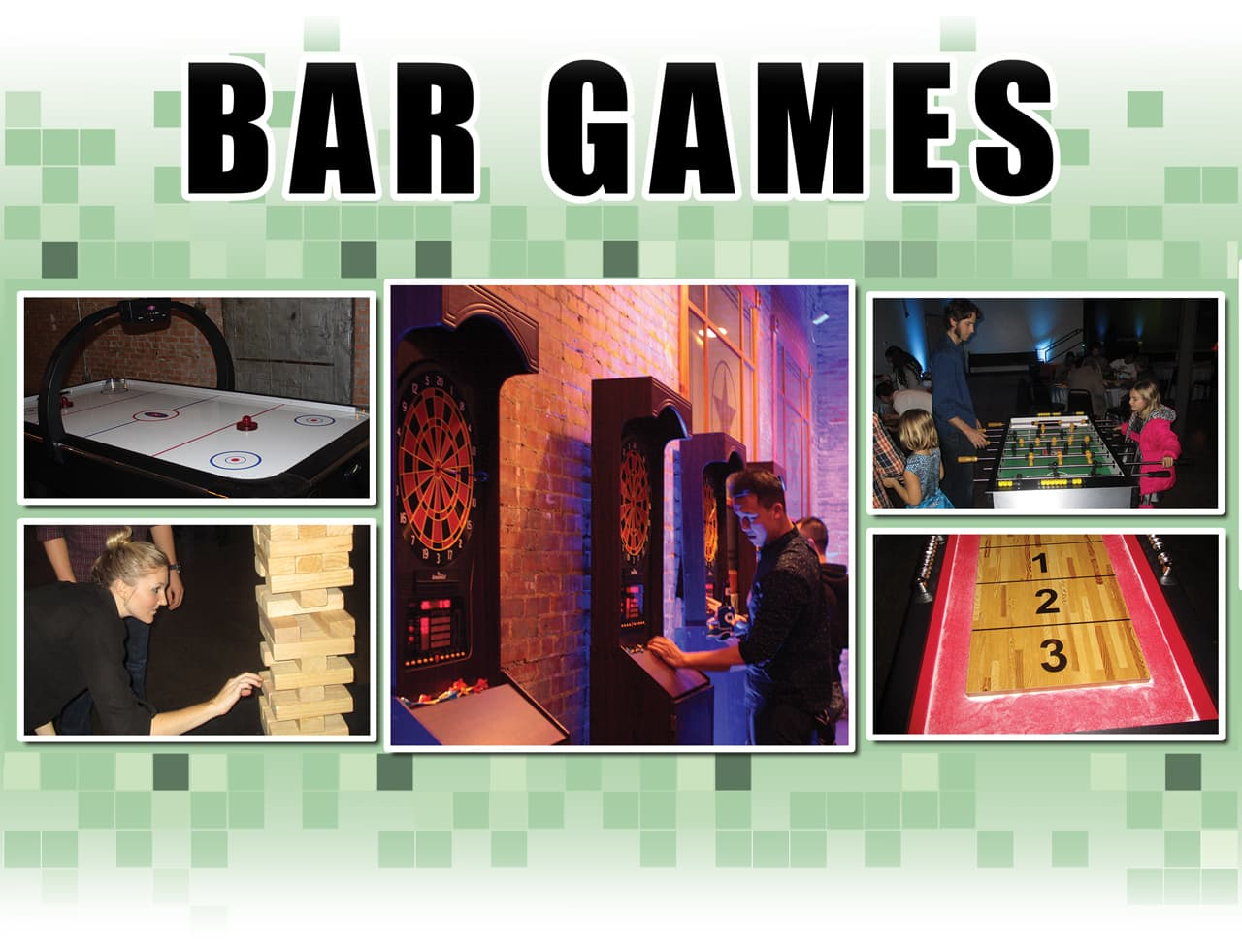 Bar Games WEB, collage of bar games