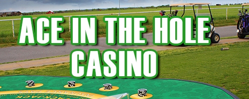 ace in the hole button, golf cart in font of blackjack table outside